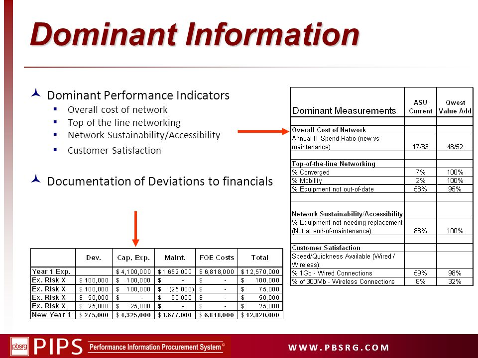 W W W. P B S R G. C O M Dominant Information Dominant Performance Indicators Overall cost of network Top of the line networking Network Sustainability