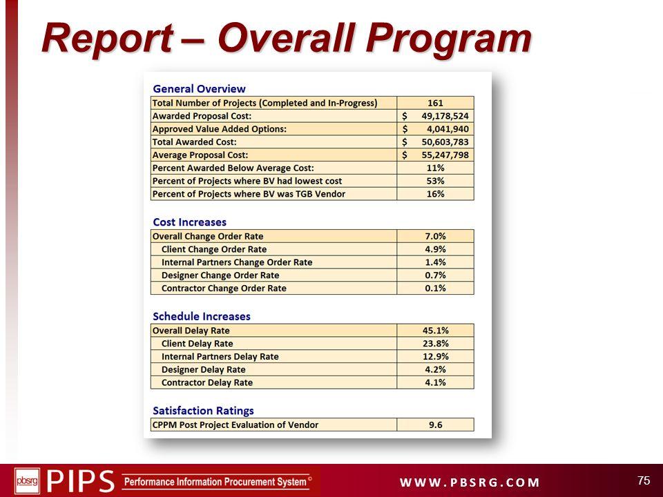 W W W. P B S R G. C O M 75 Report – Overall Program