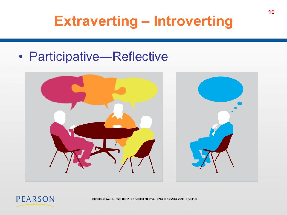 10 Extraverting – Introverting ParticipativeReflective Copyright © 2007 by NCS Pearson, Inc. All rights reserved. Printed in the United States of Amer