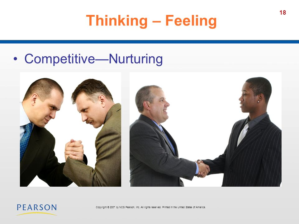 18 Thinking – Feeling CompetitiveNurturing Copyright © 2007 by NCS Pearson, Inc. All rights reserved. Printed in the United States of America.