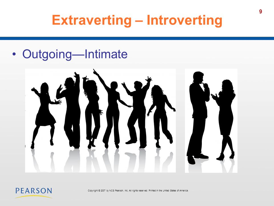 9 Extraverting – Introverting OutgoingIntimate Copyright © 2007 by NCS Pearson, Inc. All rights reserved. Printed in the United States of America.