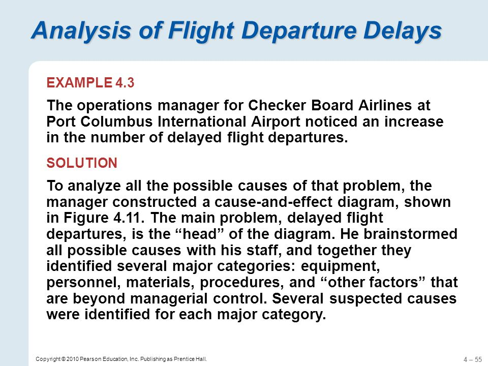4 – 55 Copyright © 2010 Pearson Education, Inc. Publishing as Prentice Hall. Analysis of Flight Departure Delays EXAMPLE 4.3 The operations manager fo