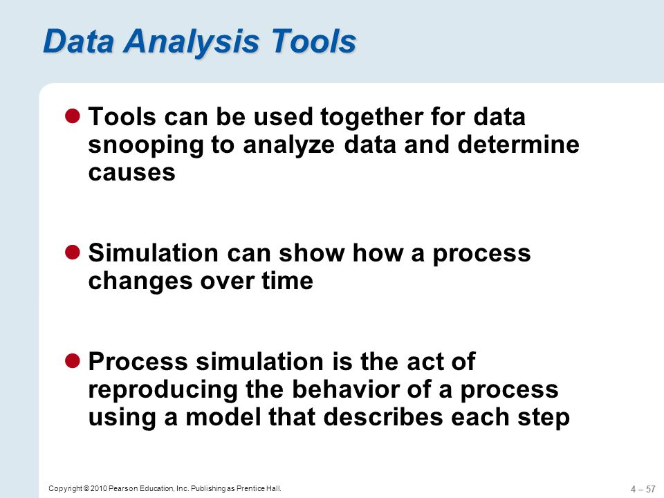 4 – 57 Copyright © 2010 Pearson Education, Inc. Publishing as Prentice Hall. Data Analysis Tools Tools can be used together for data snooping to analy