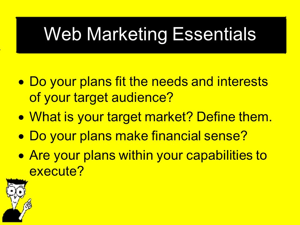 Web Marketing Essentials Do your plans fit the needs and interests of your target audience? What is your target market? Define them. Do your plans mak