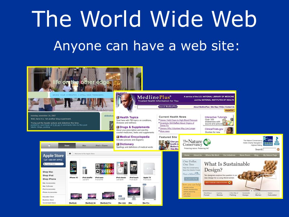 Anyone can have a web site: The World Wide Web