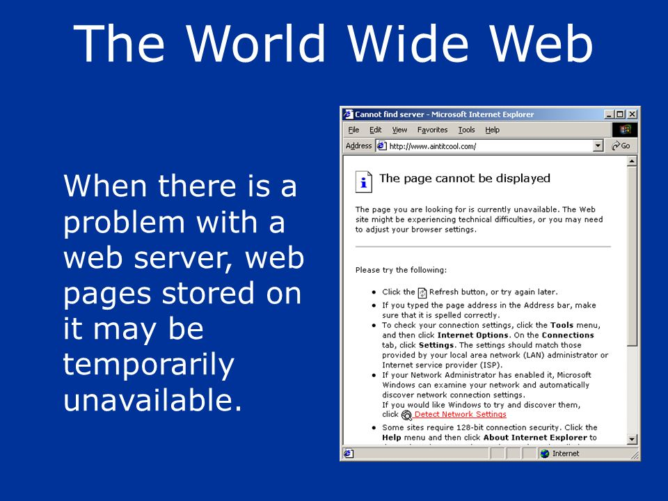 When there is a problem with a web server, web pages stored on it may be temporarily unavailable. The World Wide Web