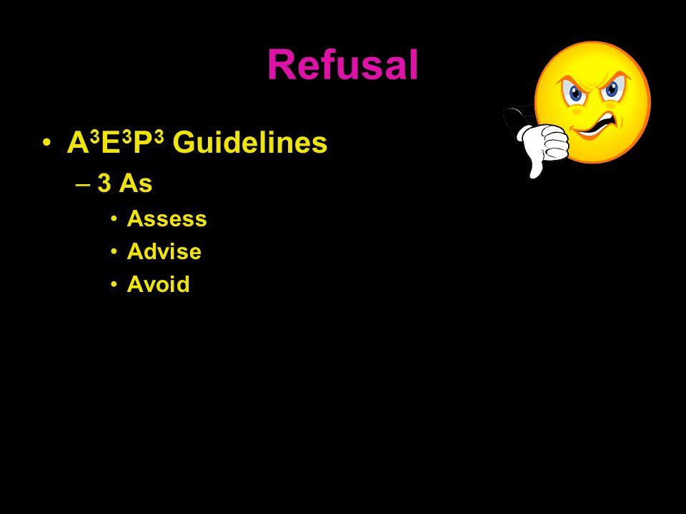 Refusal A 3 E 3 P 3 Guidelines –3 As Assess Advise Avoid