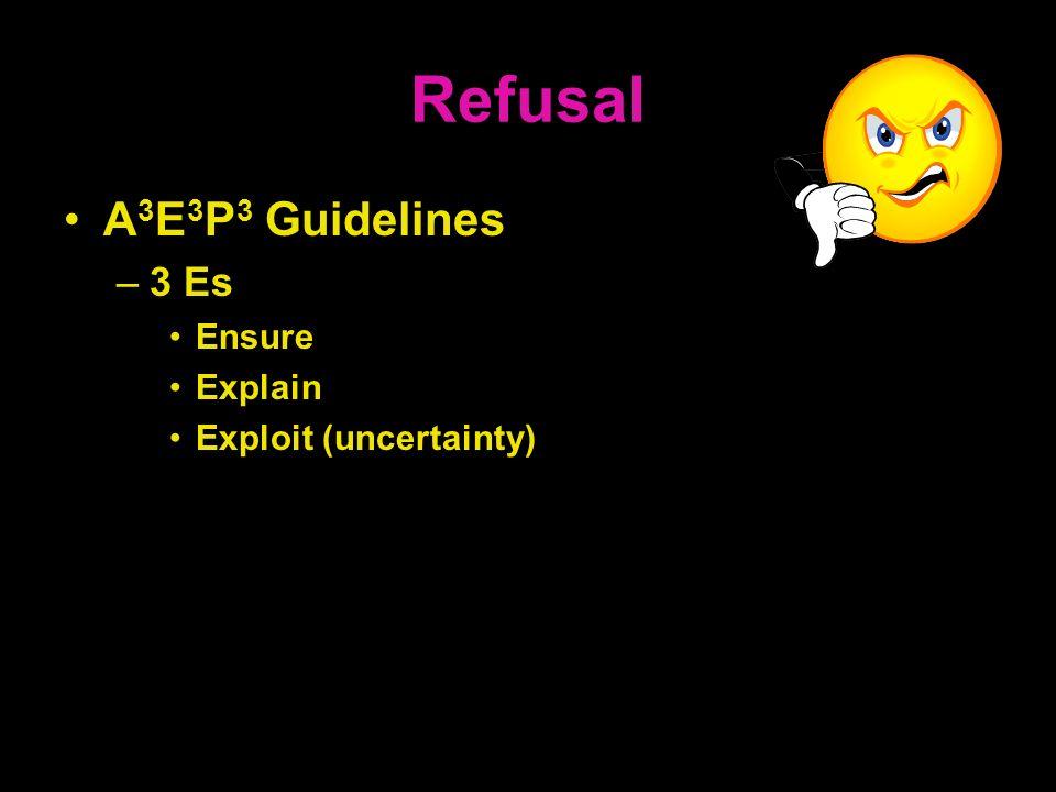 Refusal A 3 E 3 P 3 Guidelines –3 Es Ensure Explain Exploit (uncertainty)