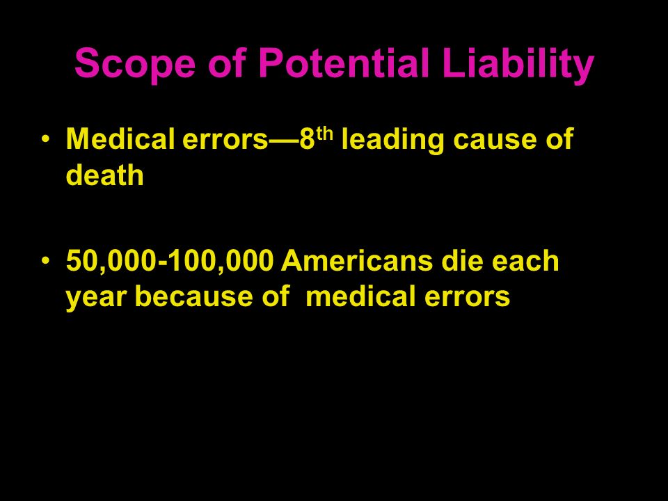 Scope of Potential Liability Medical errors8 th leading cause of death 50,000-100,000 Americans die each year because of medical errors