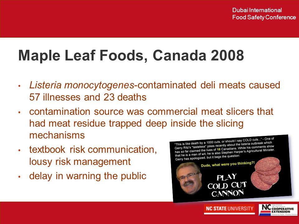 Dubai International Food Safety Conference Maple Leaf Foods, Canada 2008 Listeria monocytogenes-contaminated deli meats caused 57 illnesses and 23 dea