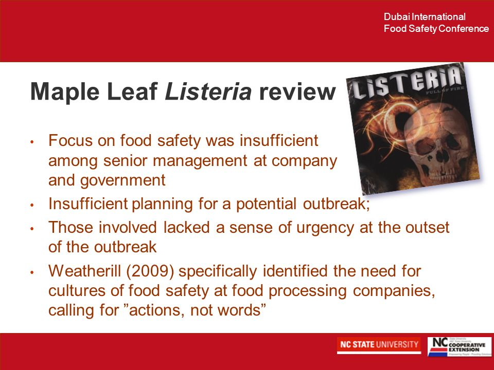 Dubai International Food Safety Conference Maple Leaf Listeria review Focus on food safety was insufficient among senior management at company and gov