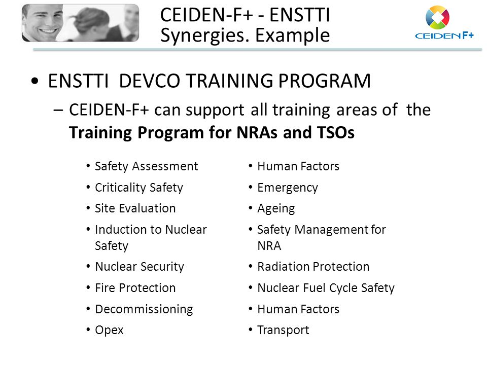 F+ CEIDEN-F+ - ENSTTI Synergies. Example ENSTTI DEVCO TRAINING PROGRAM –CEIDEN-F+ can support all training areas of the Training Program for NRAs and
