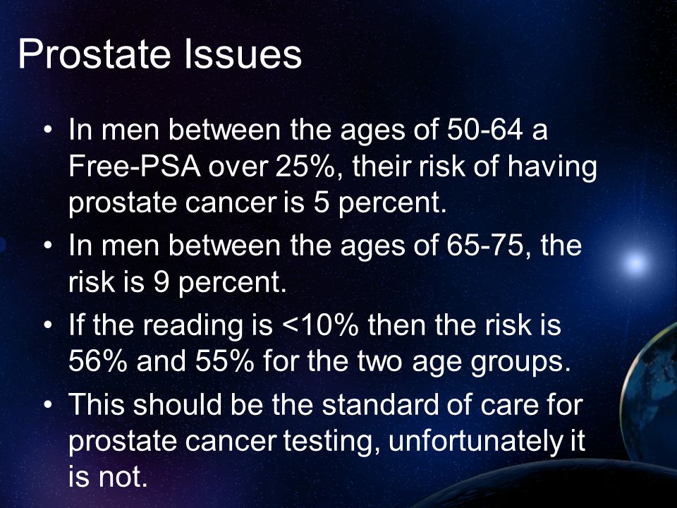Prostate Issues In men between the ages of 50-64 a Free-PSA over 25%, their risk of having prostate cancer is 5 percent. In men between the ages of 65