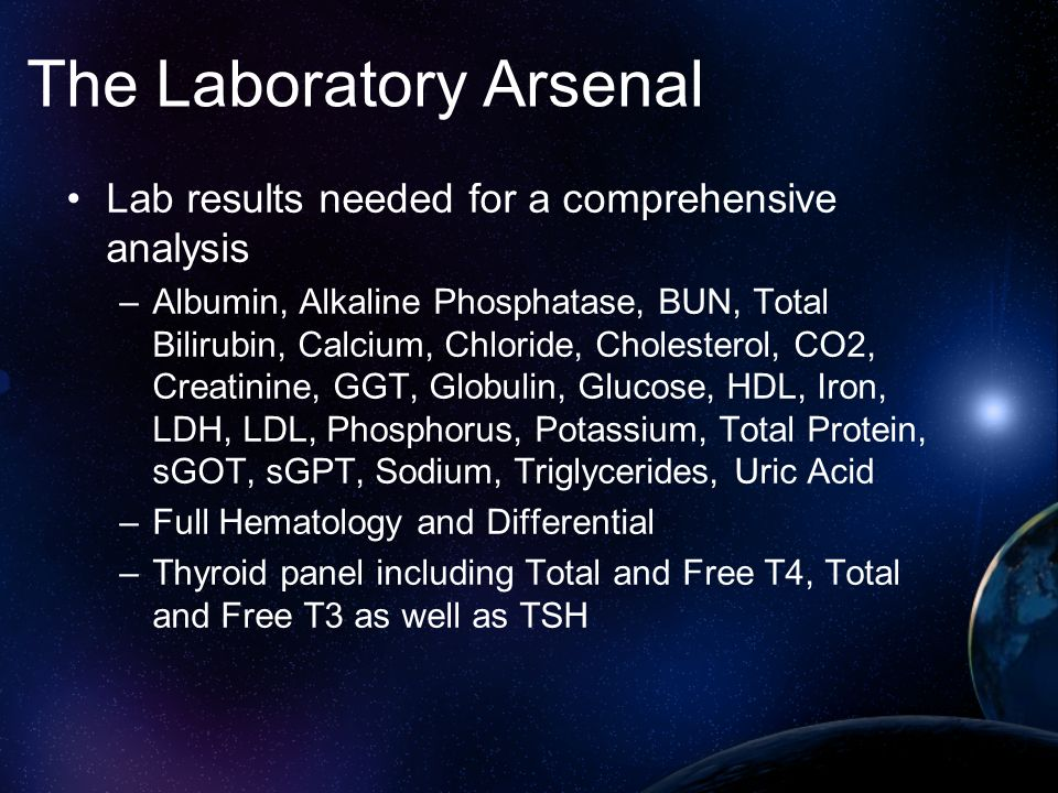 The Laboratory Arsenal One combination that works quite well is a Comprehensive Blood Chemistry, a Plasma Amino Acid 40, Whole Blood Elements, along with a Environmental Pollutants panel.