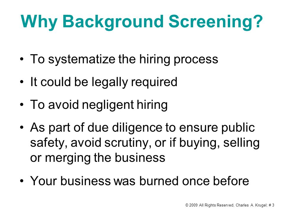 Why Background Screening.