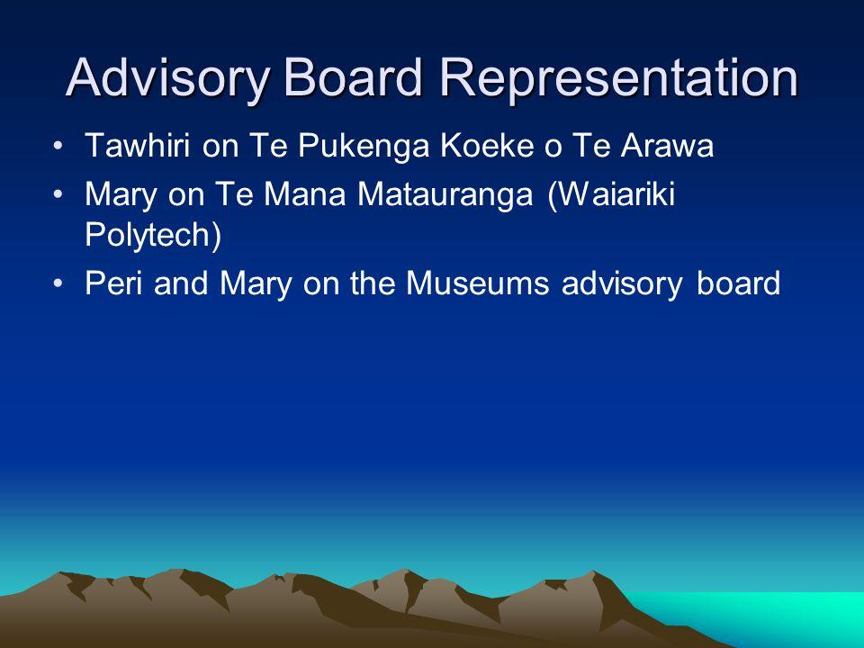 Advisory Board Representation Tawhiri on Te Pukenga Koeke o Te Arawa Mary on Te Mana Matauranga (Waiariki Polytech) Peri and Mary on the Museums advis