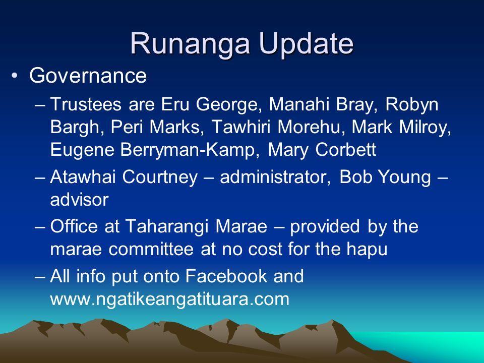 Runanga Update Governance –Trustees are Eru George, Manahi Bray, Robyn Bargh, Peri Marks, Tawhiri Morehu, Mark Milroy, Eugene Berryman-Kamp, Mary Corb