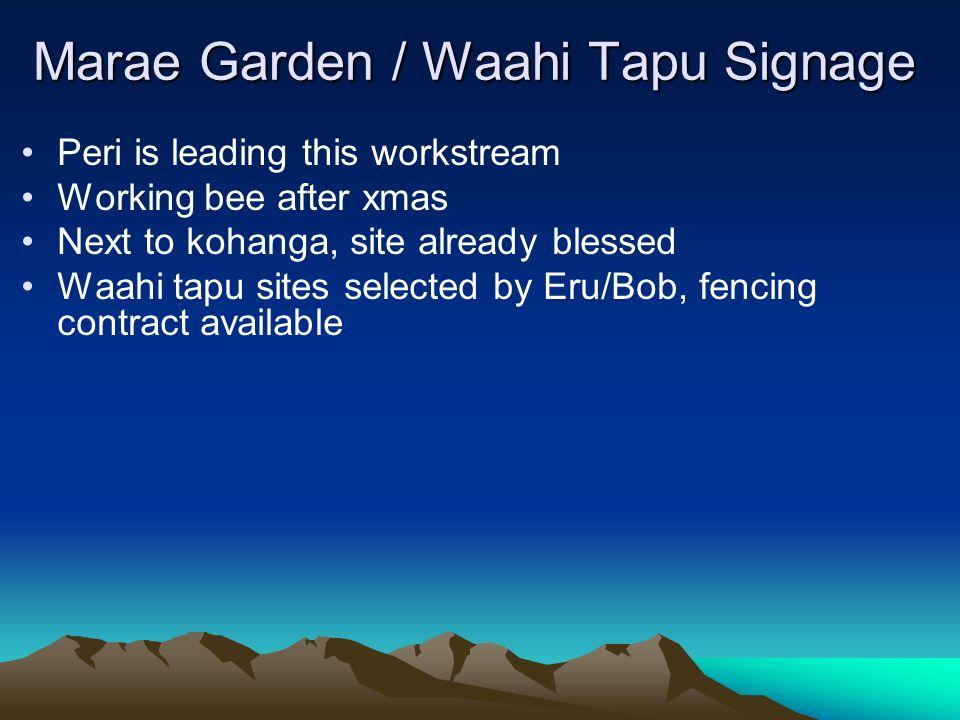 Marae Garden / Waahi Tapu Signage Peri is leading this workstream Working bee after xmas Next to kohanga, site already blessed Waahi tapu sites select