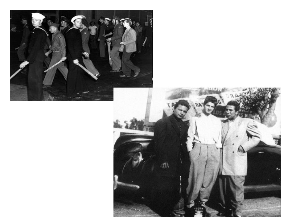 Mexican-Americans Zoot Suit Riots L.A (1943) Young Mexican-Americans became object of frequent violent attacks in LA. Sailors on leave roamed streets
