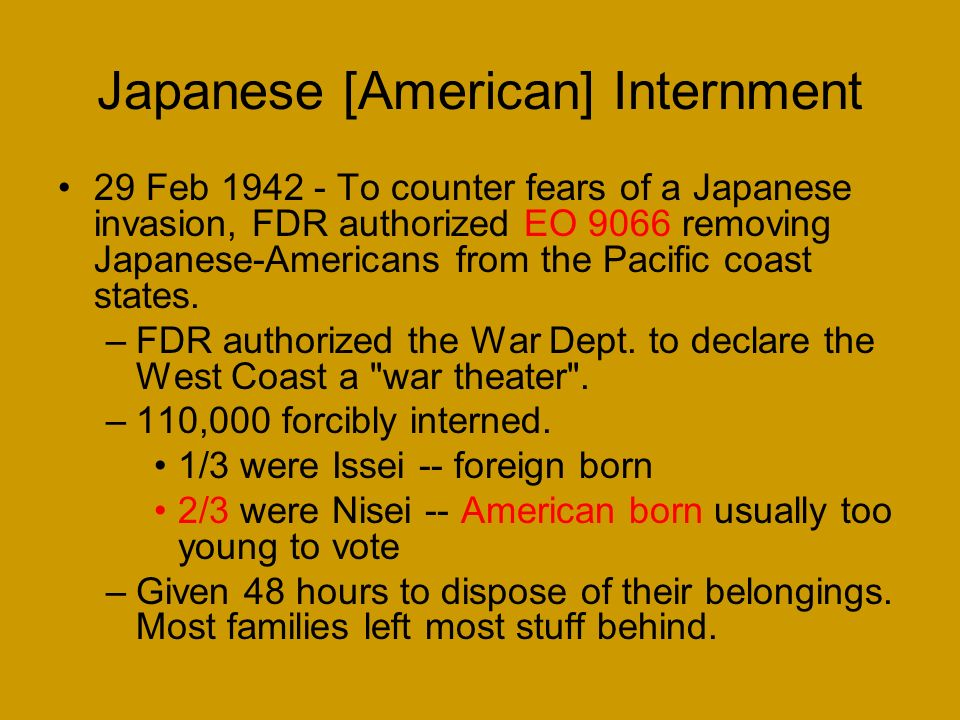 Japanese [American] Internment Background: 1942 was a critical year for Allied powers. –Japan controlled SE Asia and most of China –Germany controlled