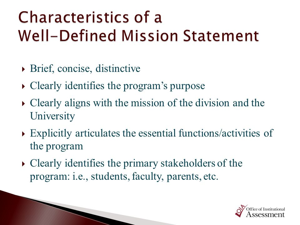 Brief, concise, distinctive Clearly identifies the programs purpose Clearly aligns with the mission of the division and the University Explicitly arti