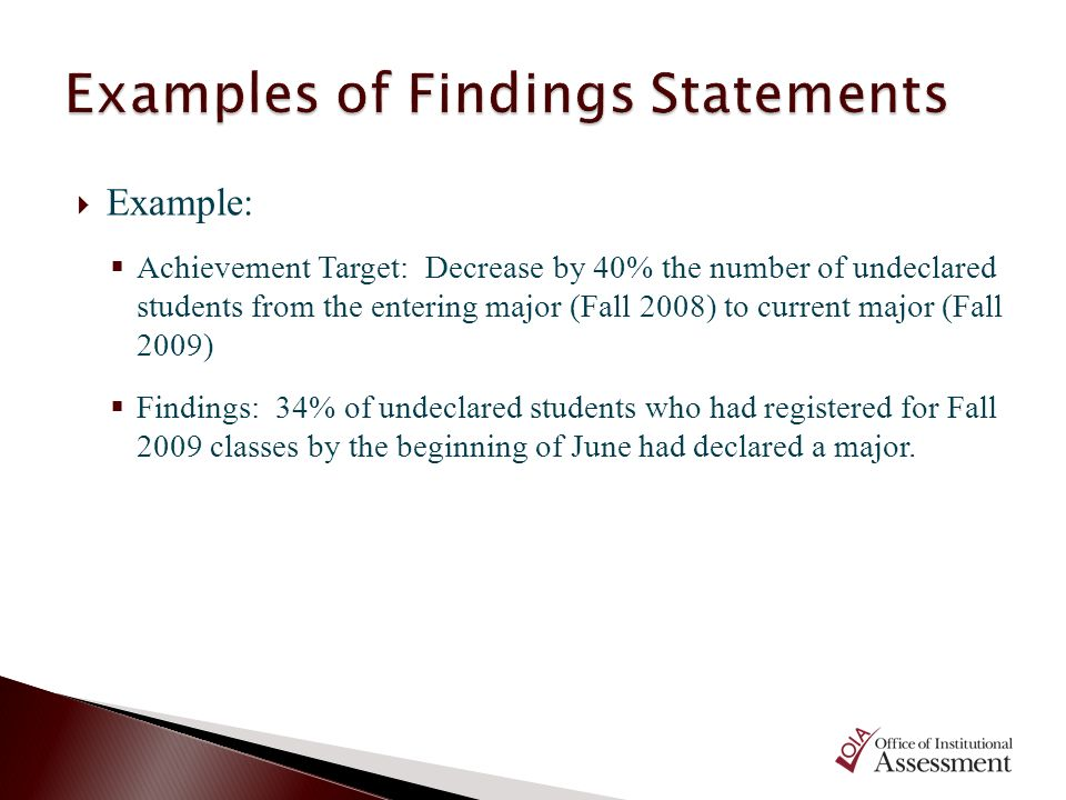 Example: Achievement Target: Decrease by 40% the number of undeclared students from the entering major (Fall 2008) to current major (Fall 2009) Findin