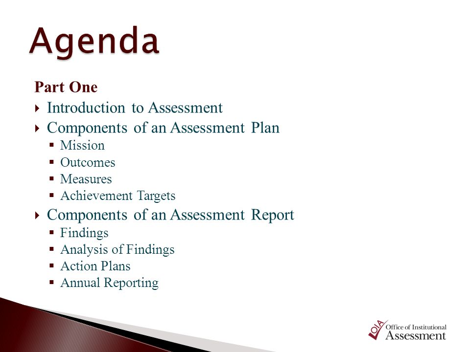 Part One Introduction to Assessment Components of an Assessment Plan Mission Outcomes Measures Achievement Targets Components of an Assessment Report