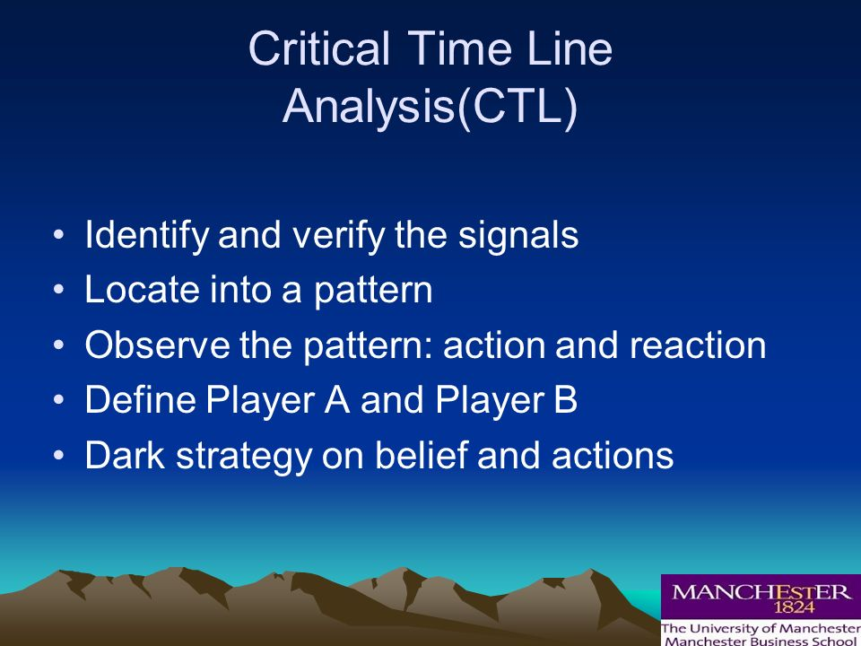 Critical Time Line Analysis(CTL) Identify and verify the signals Locate into a pattern Observe the pattern: action and reaction Define Player A and Player B Dark strategy on belief and actions