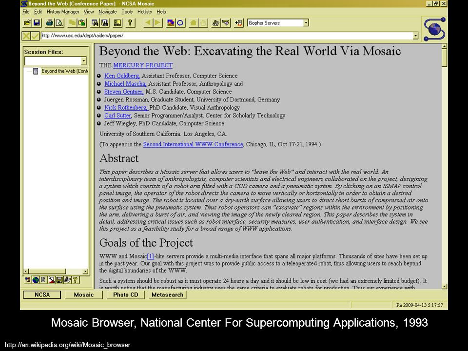 Mosaic Browser, National Center For Supercomputing Applications, 1993