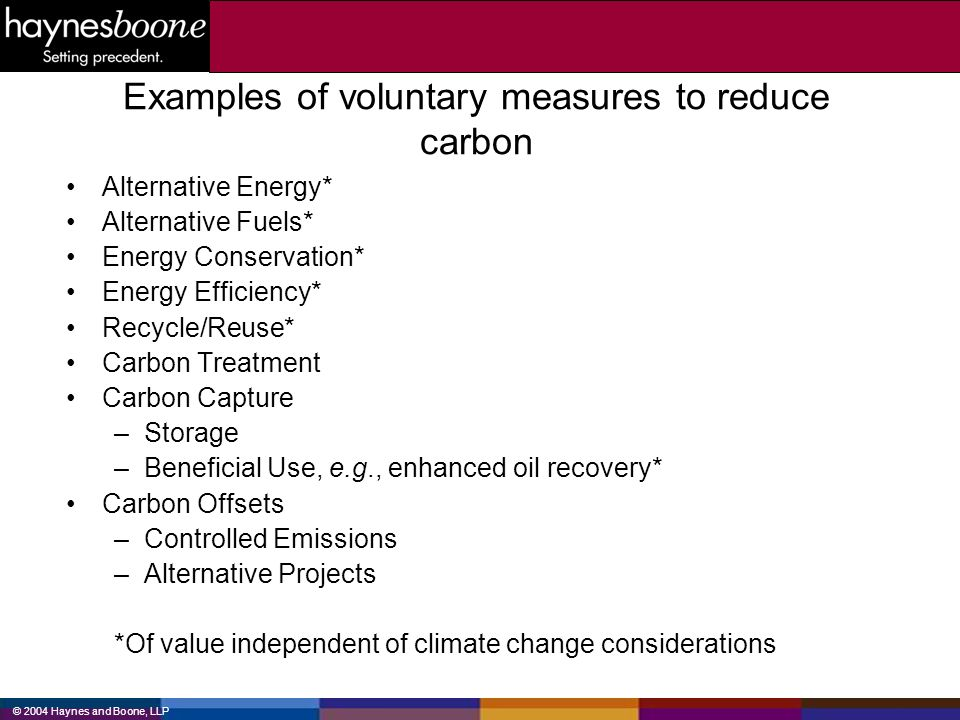 © 2004 Haynes and Boone, LLP Examples of voluntary measures to reduce carbon Alternative Energy* Alternative Fuels* Energy Conservation* Energy Effici