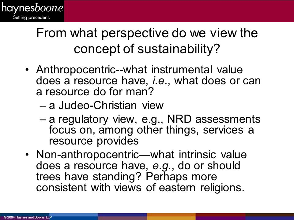 © 2004 Haynes and Boone, LLP From what perspective do we view the concept of sustainability? Anthropocentric--what instrumental value does a resource