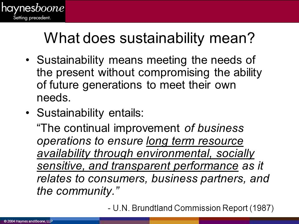 © 2004 Haynes and Boone, LLP What does sustainability mean? Sustainability means meeting the needs of the present without compromising the ability of