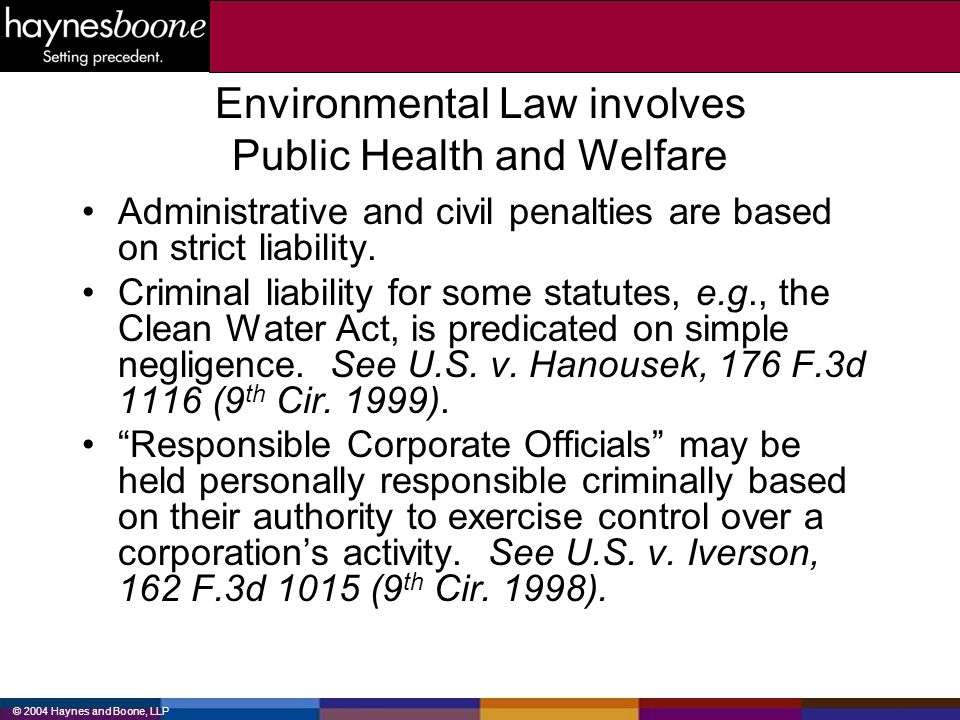 © 2004 Haynes and Boone, LLP Environmental Law involves Public Health and Welfare Administrative and civil penalties are based on strict liability. Cr