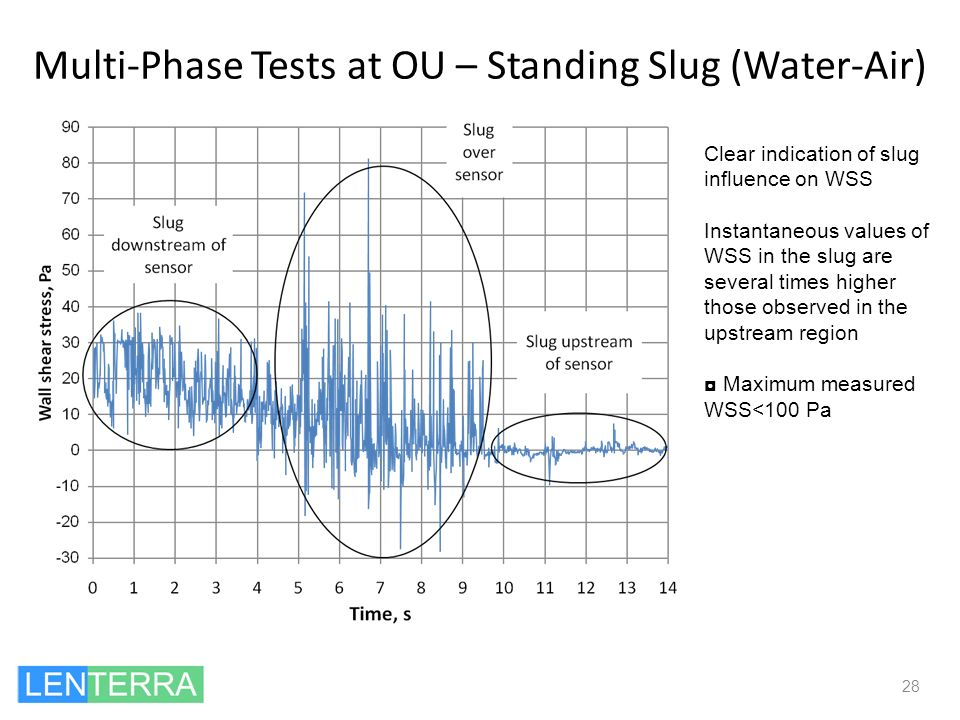 Multi-Phase Tests at OU – Standing Slug (Water-Air) 28 Clear indication of slug influence on WSS Instantaneous values of WSS in the slug are several t