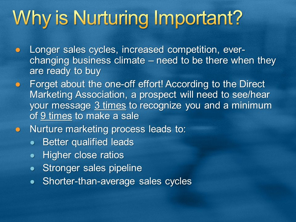 Longer sales cycles, increased competition, ever- changing business climate – need to be there when they are ready to buyLonger sales cycles, increased competition, ever- changing business climate – need to be there when they are ready to buy Forget about the one-off effort.