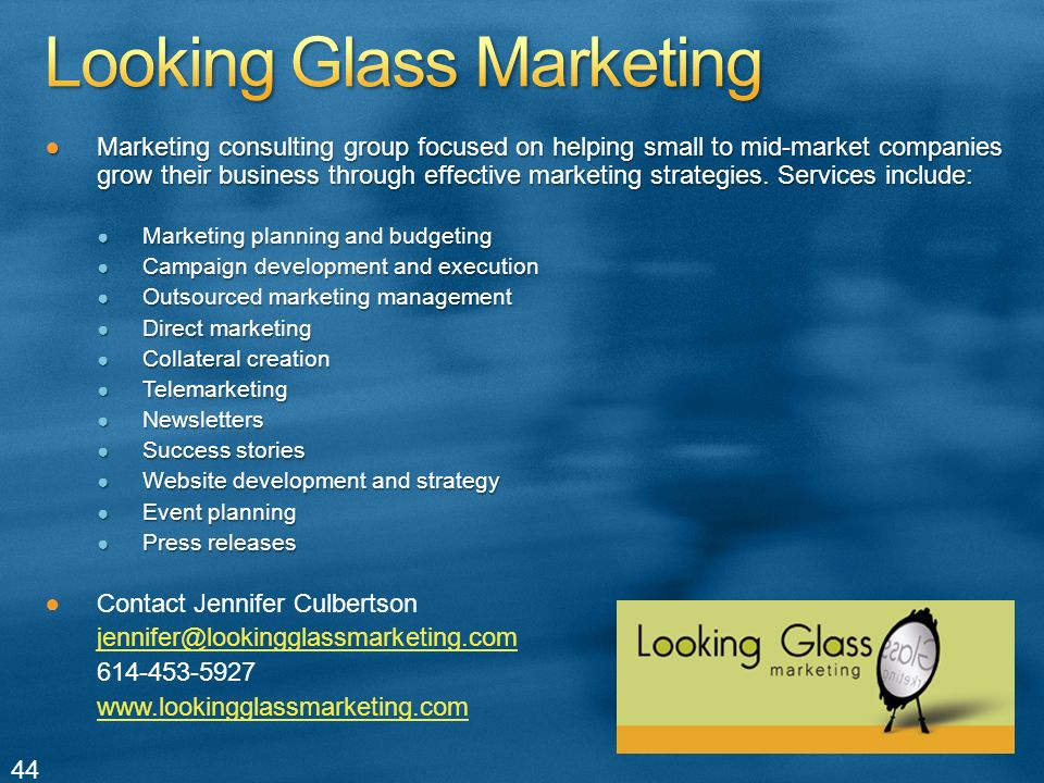 Marketing consulting group focused on helping small to mid-market companies grow their business through effective marketing strategies.