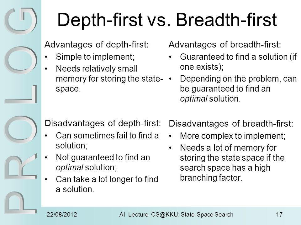 22/08/2012AI Lecture CS@KKU: State-Space Search17 Depth-first vs. Breadth-first Advantages of depth-first: Simple to implement; Needs relatively small