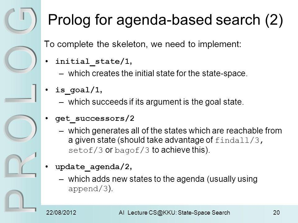 22/08/2012AI Lecture CS@KKU: State-Space Search20 Prolog for agenda-based search (2) To complete the skeleton, we need to implement: initial_state/1,