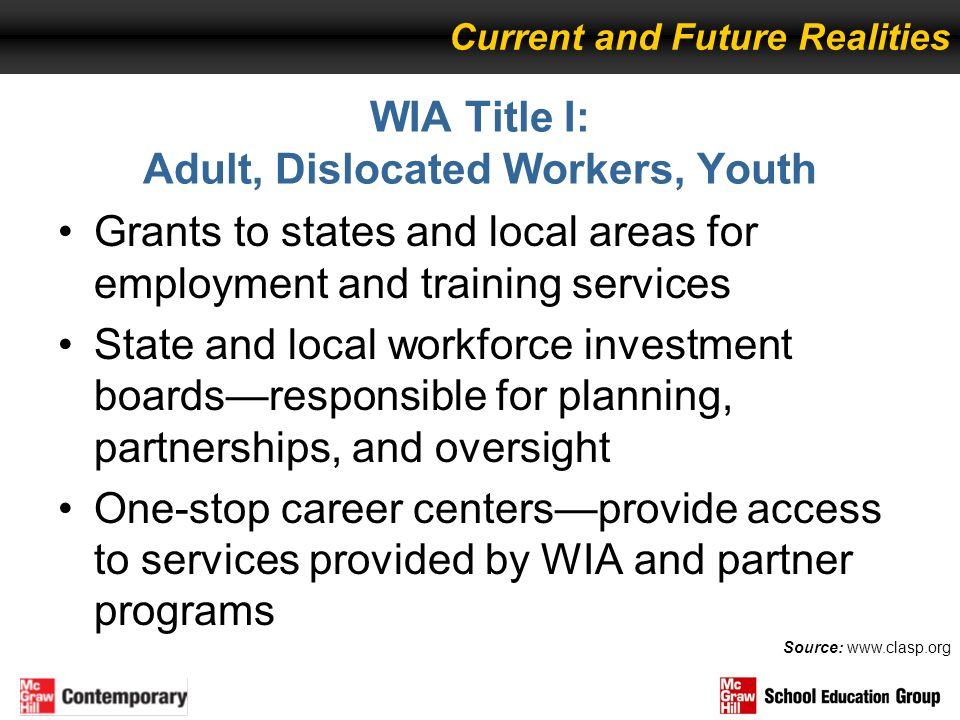 WIA Title I: Adult, Dislocated Workers, Youth Grants to states and local areas for employment and training services State and local workforce investme