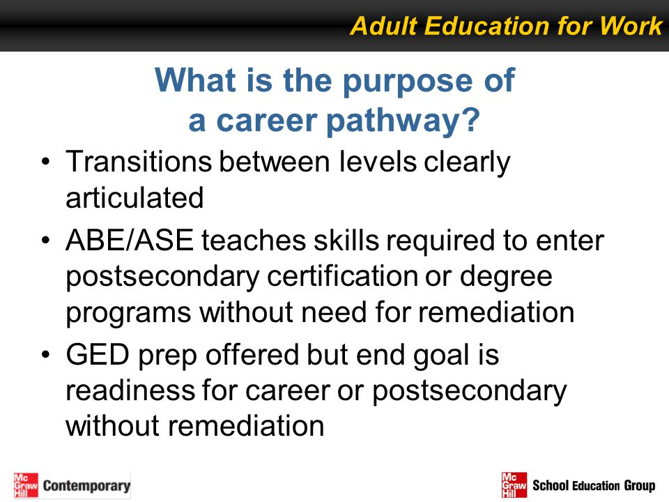 What is the purpose of a career pathway? Transitions between levels clearly articulated ABE/ASE teaches skills required to enter postsecondary certifi