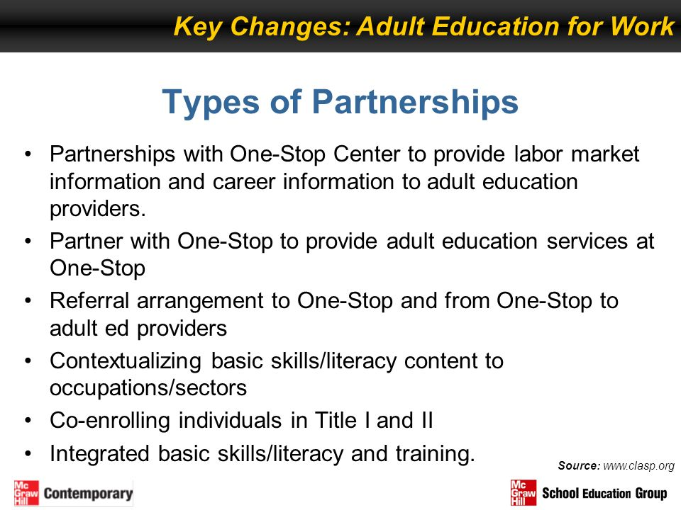 Types of Partnerships Partnerships with One-Stop Center to provide labor market information and career information to adult education providers. Partn