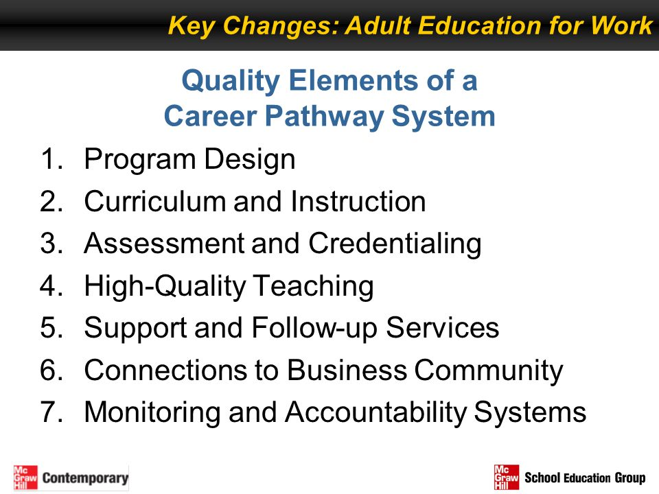 Quality Elements of a Career Pathway System 1.Program Design 2.Curriculum and Instruction 3.Assessment and Credentialing 4.High-Quality Teaching 5.Sup