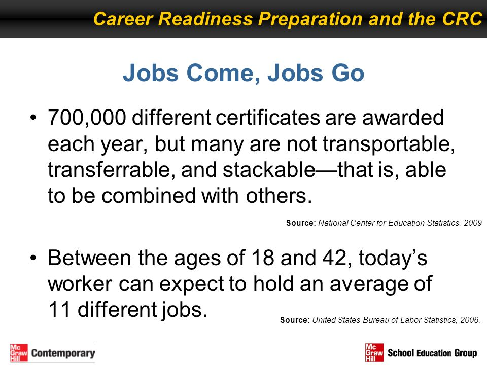 Jobs Come, Jobs Go 700,000 different certificates are awarded each year, but many are not transportable, transferrable, and stackablethat is, able to