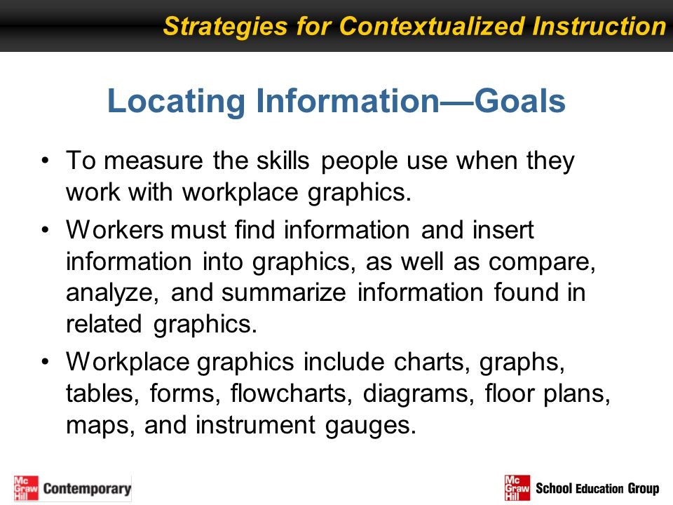 Locating InformationGoals To measure the skills people use when they work with workplace graphics. Workers must find information and insert informatio