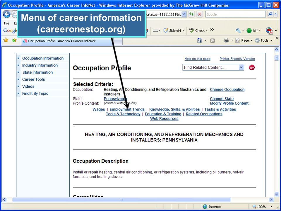 Menu of career information (careeronestop.org) Menu of career information (careeronestop.org)