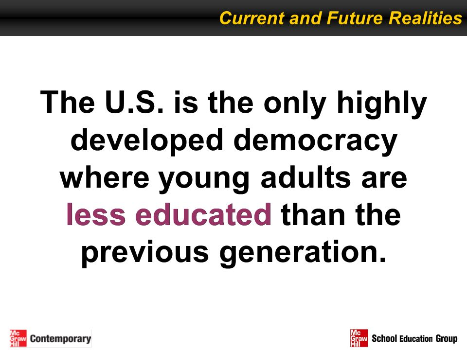 The U.S. is the only highly developed democracy where young adults are less educated than the previous generation. less educated Current and Future Re