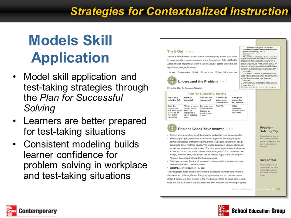 Model skill application and test-taking strategies through the Plan for Successful Solving Learners are better prepared for test-taking situations Con
