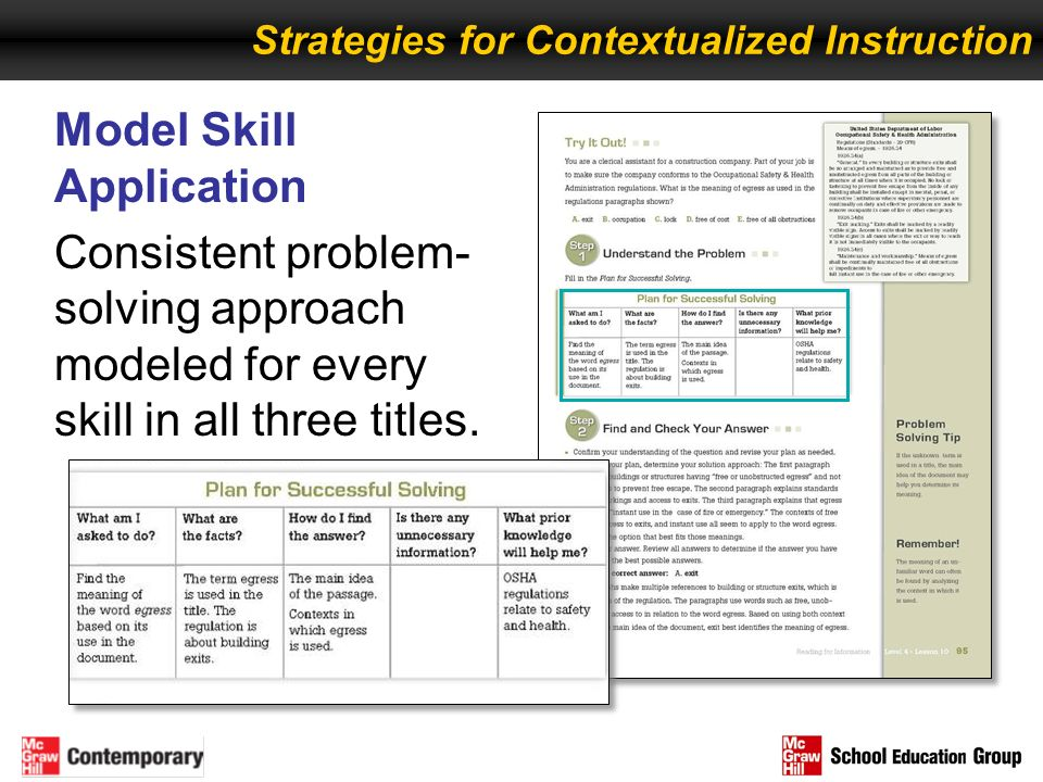 Model Skill Application Consistent problem- solving approach modeled for every skill in all three titles. Strategies for Contextualized Instruction
