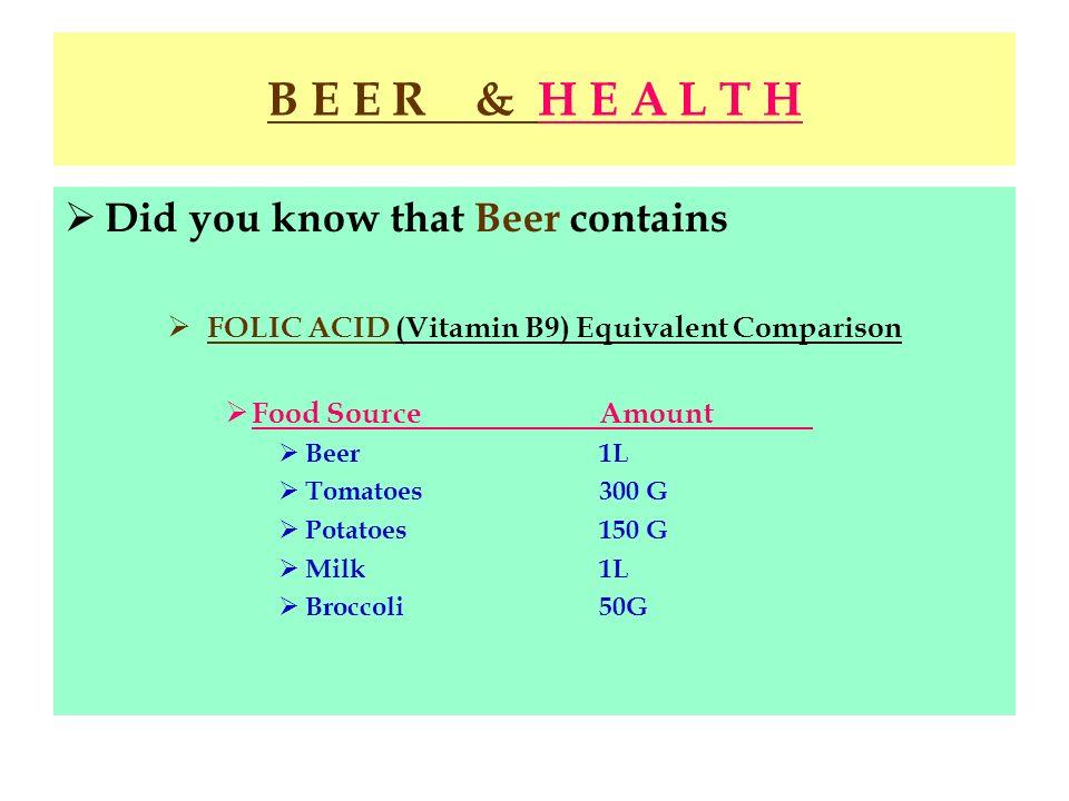 B E E R & H E A L T H Did you know that Beer contains FOLIC ACID (Vitamin B9) Equivalent Comparison Food SourceAmount Beer1L Tomatoes300 G Potatoes150