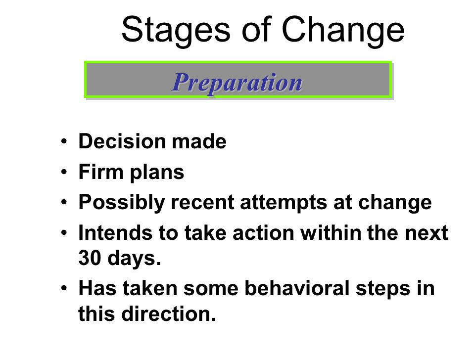 Stages of Change Decision made Firm plans Possibly recent attempts at change Intends to take action within the next 30 days. Has taken some behavioral